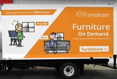 Camión de Furnishare NYC , economía colaborativa en el sector del mueble